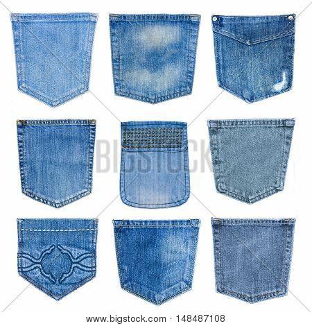 Set Of Closeup  Texture   Jean , Pocket Detai