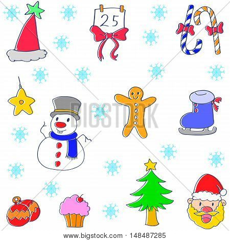 Christmas set doodle vector art collection stock