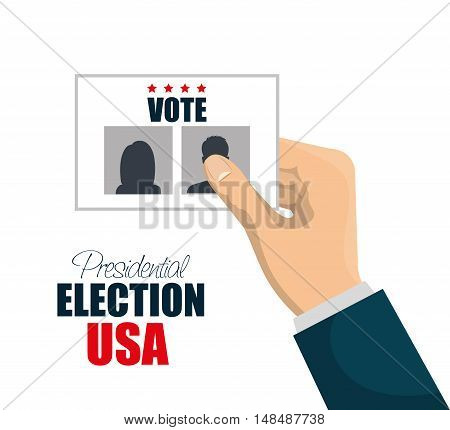 hand with vote election presidential graphic vector illustration eps 10