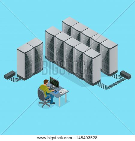 Isometric Modern web network and internet telecommunication technology, big data storage and cloud computing computer service business concept server room interior in data center.