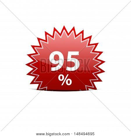 Vector red sign discount 95% isolated illustration