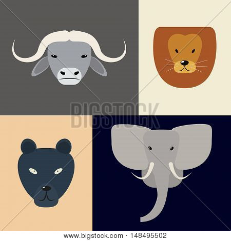 Animals of Africa. Big Five heads. Vector illustration of a flat on a colored background