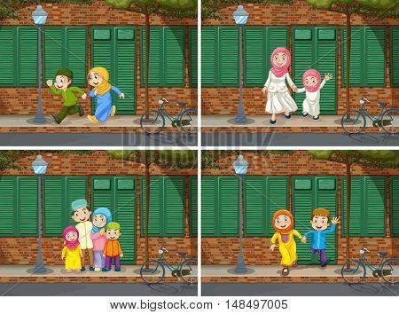 Muslim family in the neighborhood illustration