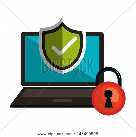 symbol technology secure safety design vector illustration