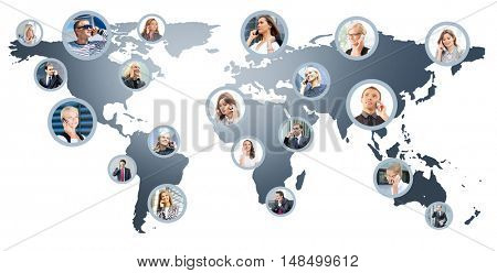 Business people talking on the telephone. Collage of different business pictures collected as world map. Communication, online support and worldwide call center concept.