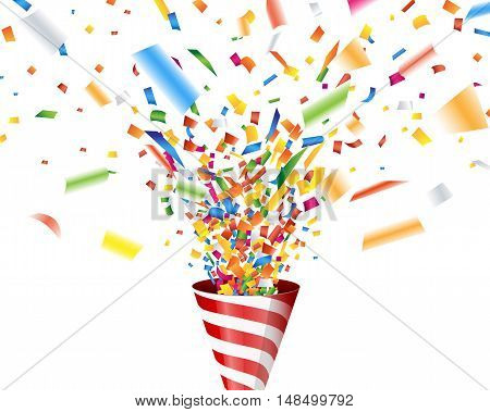 Party popper with confetti on white background