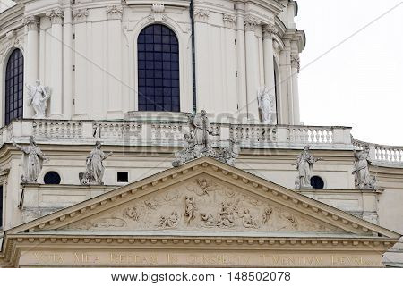 Detail of Karlskirche (St. Charles's Church) in Vienna Austria.