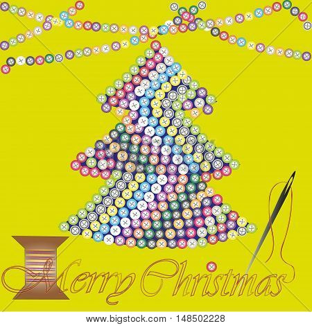Merry Christmas greeting card or invitation Abstract design greeting holiday new yeartree embroidered many color button, a garland on top the drawing and a needle and thread text vector illustration