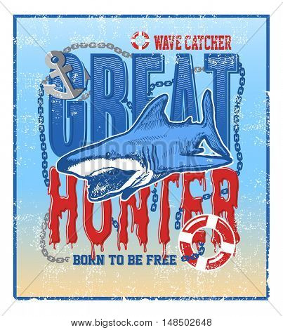 greate hunter stilized vector illustration