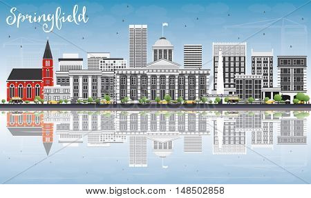 Springfield Skyline with Gray Buildings, Blue Sky and Reflections. Business Travel and Tourism Concept with Modern Buildings. Image for Presentation Banner Placard and Web Site.