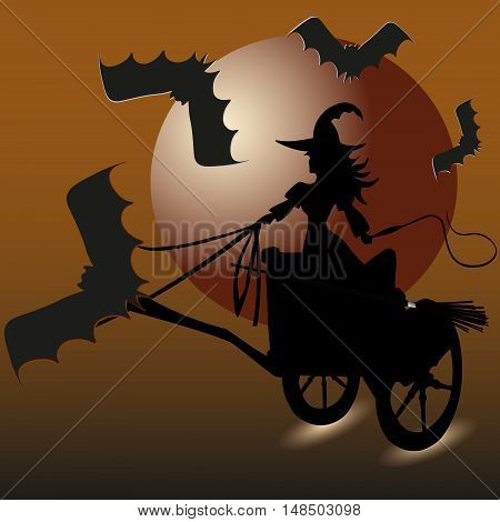 Witch and bats picture invitation Holiday Halloween abstraction Sorceress chariot to fly to whip hand four vampire escort large moon shadow of the background vector illustration