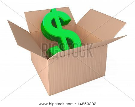Dollar in opened box isolated on white
