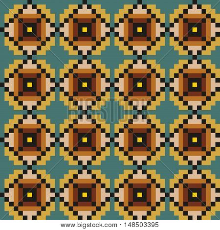 Geometric seamless stitching pattern in metal colors on a desaturated blue background. Pixel art. Vector illustration