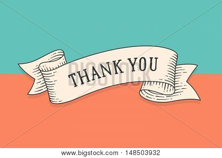 Greeting card with ribbon and phrase Thank you. Old ribbon banner in engraving style for Thanksgiving Day. Old school hand drawn vintage ribbon for message, card or banner. Vector Illustration