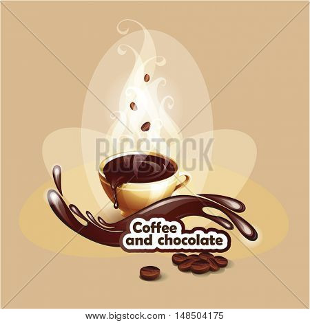 The raster version background with a coffee cup. Cup of hot chocolate.