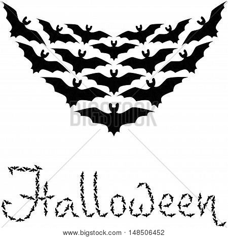 Cute background Halloween pattern border frame with repeating bats isolated on the white fond. With space for invitations or different events greeting cards text. Vector illustration eps 10