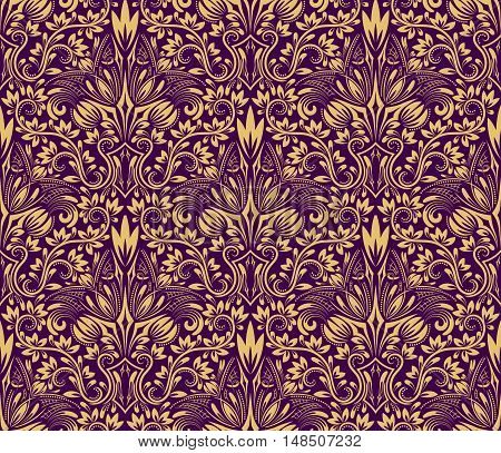 Damask seamless pattern repeating background. Yellow purple floral ornament in baroque style.