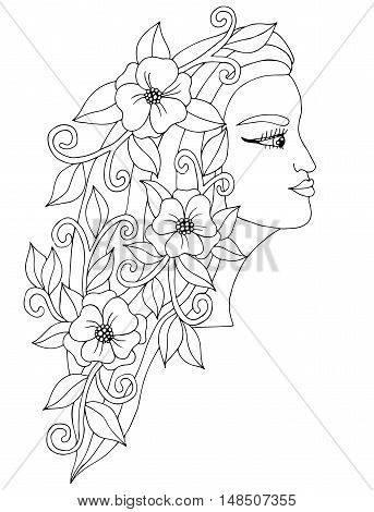 Head young beautiful girl with flower in the long hair. Mono color black line art element for adult coloring book page design child magazine shirt and other.