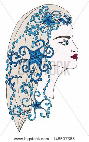 Winter girl with abstract blue décor element on the hair. Line art element for adult coloring book page design child magazine shirt and other.