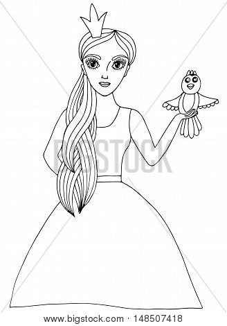 Young beautiful girl in crone with bird. Mono color black line art element for adult coloring book page design.
