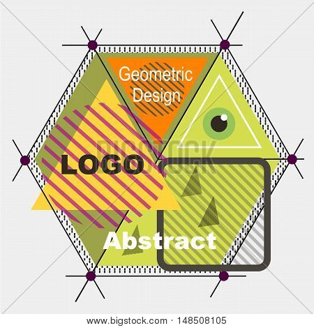 Abstract Composition. Minimalistic Fashion Backdrop Design. Triangle Brand Logo Icon. Green, Yellow,
