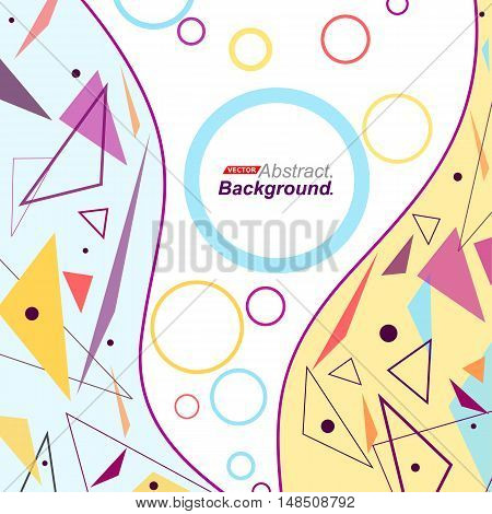 Abstract Concept. Minimalistic Fashion Backdrop Design. Patch Flying Triangles Icon. Curve Lines Fon