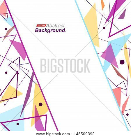 Abstract Concept. Minimalistic Fashion Backdrop Design. Purple, Yellow Flying Triangles Icon. Blue L