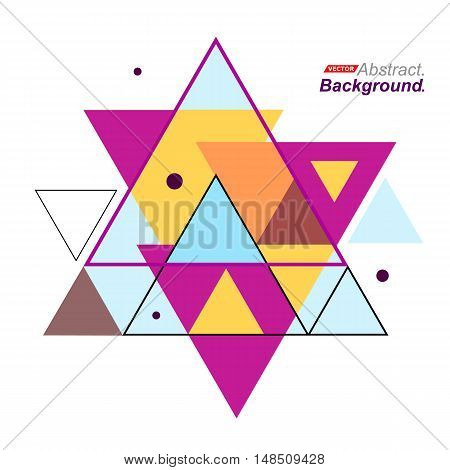 Abstract Composition. Minimalistic Fashion Backdrop Design. Hexagram Brand Logo Icon. Pink, Yellow,