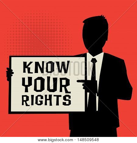Man showing board business concept with text Know Your Rights vector illustration