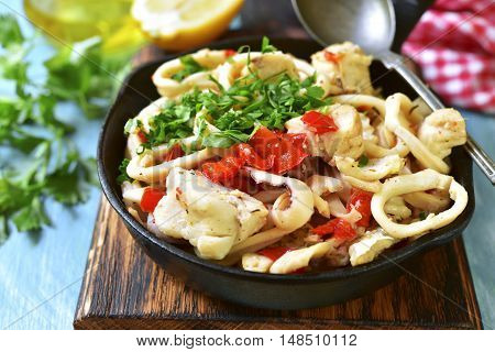 Seafood Ragout With Vegetables And Herbs.