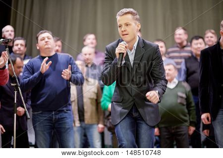 MOSCOW, RUSSIA - DEC 30, 2014: Soloist of Academic Song and Dance Ensemble of Interior Ministry troops of Russia during rehearsal on stage of Concert Hall at Cultural Center of the Interior Ministry.