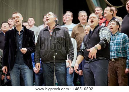 MOSCOW, RUSSIA - DEC 30, 2014: Soloists of Academic Song and Dance Ensemble of Interior Ministry troops of Russia during rehearsal on stage of Concert Hall at Cultural Center of the Interior Ministry.