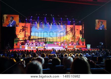 RUSSIA, MOSCOW - DEC 17, 2014: Singers on stage at Annual Award Ceremony Federation of Jewish Communities of Russia Violinist on the Roof 5774 in State Kremlin Palace