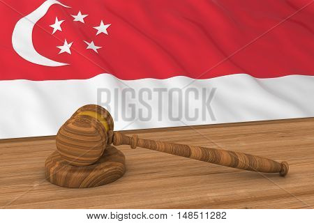 Singaporean Law Concept - Flag Of Singapore Behind Judge's Gavel 3D Illustration