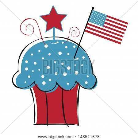 American Red White Blue Cupcake with Flag