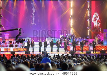 RUSSIA, MOSCOW - DEC 17, 2014: Choir Turetskogo at Annual Award Ceremony Federation of Jewish Communities of Russia Violinist on the Roof 5774 in State Kremlin Palace
