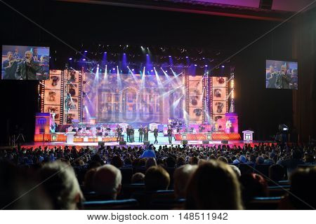 RUSSIA, MOSCOW - DEC 17, 2014: Choir Turetskogo on stage of Annual Award Ceremony Federation of Jewish Communities of Russia Violinist on the Roof 5774 in State Kremlin Palace