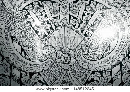 Black and white Thai art pattern grunge style abstract background