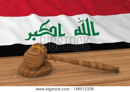 Iraqi Law Concept - Flag Of Iraq Behind Judge's Gavel 3D Illustration