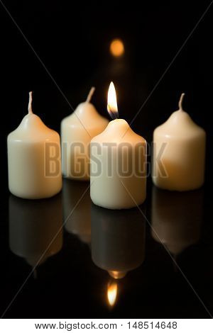 First Sunday In Advent, Candles With Black Background