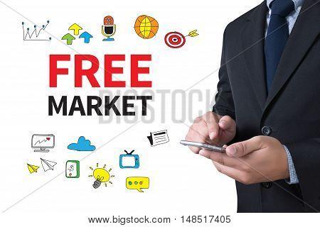 FREE MARKET businessman working use smartphone businessman working poster