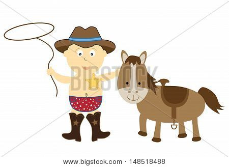 Cowboy Baby Wearing Hat with Horse and Lasso