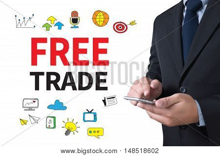 FREE TRADE businessman working use smartphone businessman working