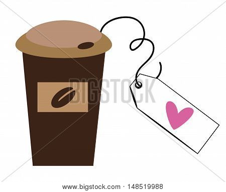 To Go Coffee Cup with Love Heart Tag