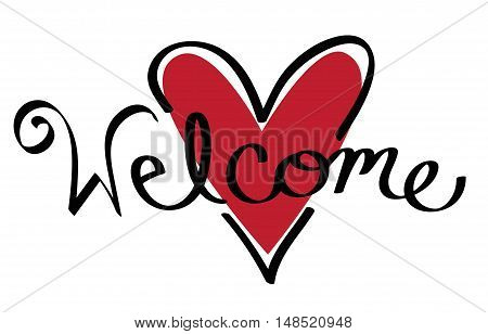 Red Love Heart Welcome Cursive Calligraphy Lettering