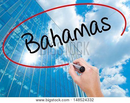 Man Hand Writing Bahamas With Black Marker On Visual Screen