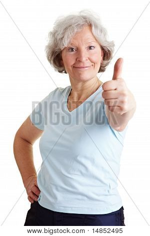 Active Senior Woman Holding Thumb Up
