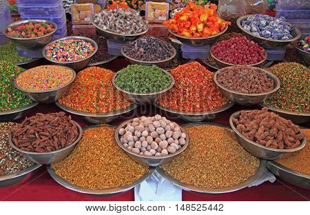 Stall With Spicery On The Street Market In Ahmedabad