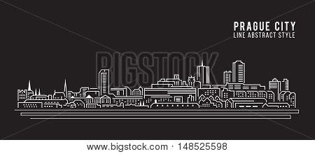 Cityscape Building Line art Vector Illustration design - Prague city