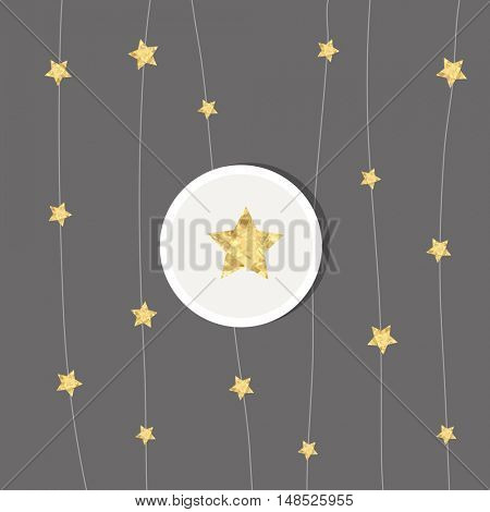 New years card. Design with golden stars.